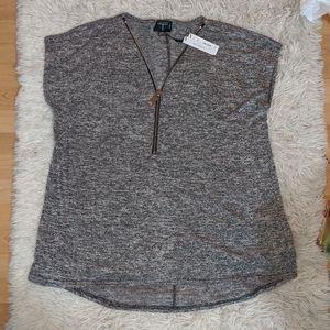 NWT Tahari Heathered Charcoal Zip Front Top